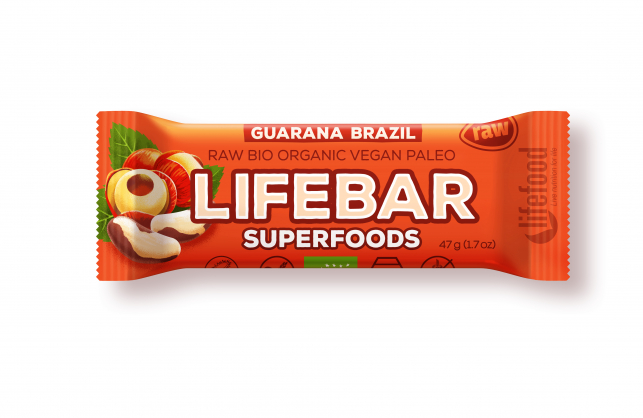 Bio tyčinka Lifebar Superfoods Guarana a Brazil 47g